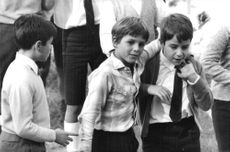 Claudia Cardinale`s son Patrick Cardinale, standing with his class-mates.