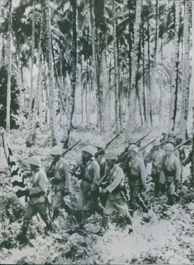 Vietnamese soldiers carrying the flag marching through the woods. 1966