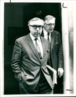 Lord George Brown (l) and Richard Crossman leaving 10 Downing Street