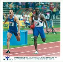 European Cup in athletics in Munich. Georgios Panayiotopoulos and Linford Christie