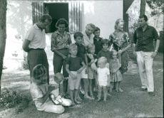 Albert II of Belgium with his children and wife and other family members.