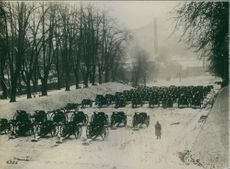 View of cannons in the huge ground.1917