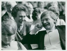 Dorothy Crowfoot Hodgkin together with Thomas Thomas in Stockholm Concert Hall