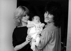 Ronnie and Jo Wood with baby Leah.
