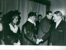 Rene Coty meeting with people.