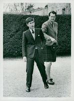 Prince Charles of Wales is shown around at the boarding school Gordonstoun of Mr. Iain Tennant.