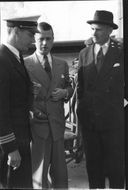 SILA flight to the United States. Fr. V. The flight captain Åke Duvander, Per Norlin's Managing Director and Marcus Wallenberg, Chief Executive Officer - 28 June 1945