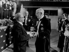 Professor Dennis Gabor, when he received the Nobel Prize in Physics 1971 by King Gustaf VI Adolf.