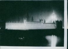 Victory Illumination in London Brilliantly lit the house of Parliament and the Big Ben seen from the opposite bank of the River Thames.