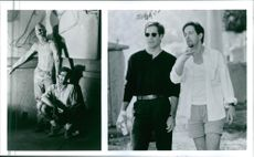 Director Clive Barker with Scott Bakula on the set of the movie Lord of Illusions, 1995.