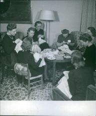 Finnish-Russian war of 1940  Women siting together and knitting.