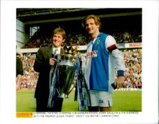 Kenny Dalglish and Tim Sherwood with the Premier League Cup (Liverpool vs Blackburn Rovers)