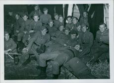 Soldiers looking at the camera smiling during the war, Sweden, 1940.