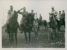 Soldiers are marching towards riding on horses, 1916.
