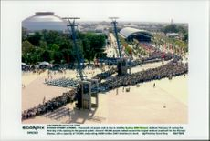Long queues await at the Olympic Games in Sydeny to enter the opening ceremony