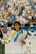 Tennis player Arantxa Sanchez in the US Open