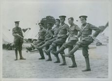 1915 Are they trying the goose-step? British recruits at drill. English recruits exercises