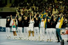 Swedish national team after the win against Russia in Moscow