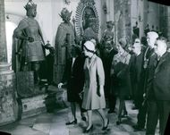 Queen Elizabeth II taking a tour at the museum.
