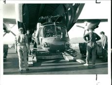Disembarkation of AAC scout helicopters.