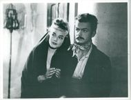 "Simone Signoret and Serge Reggiani in Jacques Brunius film ""Meeting under the stars"""