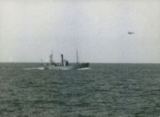 German plane attacking trawler. 1940.
