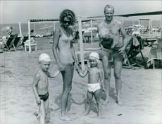 Prince Johann Georg and Princess Birgitta of Sweden with their children at the beach. 1967.