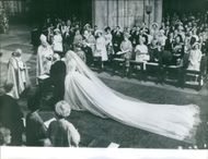 Prince Edward, Duke of Kent and Katharine marry at the altar. Elizabeth II with husband Prince Philip with other Royals in the background, attended the wedding.  - Sep 1961