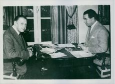 Somerset Maugham at his villa today with his Secretary/adopted son Alan Searle.
