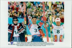 Lasse Kjus, Norway, Jean-Luc Cretier and Hannes Trinki, Austria, took silver, gold and bronze in the run-up in Nagano OS 1998.
