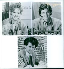 Portraits of Molly Ringwald, Andrew McCarthy and Jon Cryer in the film Pretty in Pink, 1986.