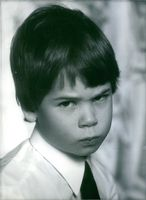 Prince Constantin looking at the camera. 1980.