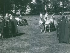 """Carita Järvinen riding a chariot in the scene of the movie, """"The Viking Queen""""."""