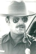 """Actor Jack Nicholson as border police in the movie """"Border"""""""