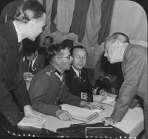 URK Conference: Count Folke Bernadotte (far right) speaks with (from left) Mr. Cosacescou, Romania, and the Poles Pysszkowski W. and J. Dobrowolski.
