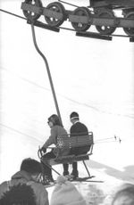 Princess Irene of the Netherlands and Duke Carlos Hugo on skiing slope, 1965.