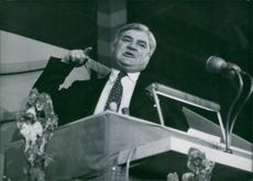 R.T. Hon. Aneurin Bevan delivering his speech.