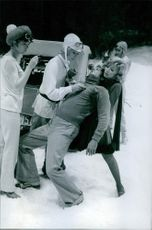 Marie Dubois with Mireille Darc, Tony Curtis and Susan Hampshire in the film Monte Carlo or Bust! 1968.