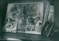 A collection of art in a corner table. 1963