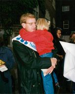 The Swedish Parliamentary elections in 1994. Carl Bildt with his daughter outside a courtroom