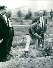 Princess Muna al-Hussein of Jordan pointing at the plants to the two men. 1969.