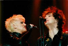 Marie Fredriksson and Per Gessle in Roxette appear at their tour start