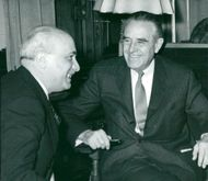 Averell Harriman with Italy's Prime Minister Amintore Fanfani