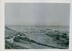 Vast scale of the operations on a beachhead in France.  Taken - Circa 1944