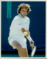 Action image of Mats Wilander taken during an unknown match.