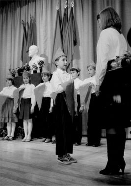 Pupils from Soviet school are admitted to the pioneer movement during a formal ceremony at the embassy. At the same time, Lenin's birthday was celebrated.