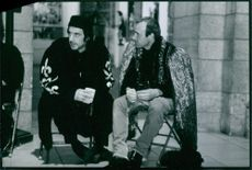 Al Pacino and Kevin Spacey on the set of the film, Looking for Richard.