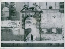 Allied authorities advise on repair of art treasures A photo of fine atrs specialist of the U.S. Army Lieutenant Daniel J. Kern and a Belgian architect Albert Ghequiere survey damage to a historical gateway structure in Namur, Belgium.