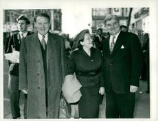 Labor leader Hugh Gaitskell, his wife and party treasurer Aneurin Bevan at the annual congress in Brighton