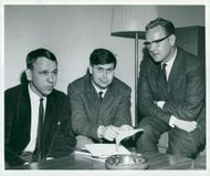 Theater Manager Henrik Dyfverman t.h. together with the television theater employees Bo Sköld and Max Lundgren